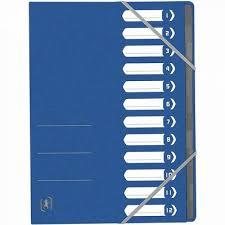 Mapa carton pentru sortare cu 12 separatoare si index, elastic pe colturi, Top File - albastr