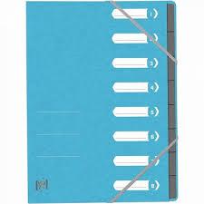 Mapa carton pentru sortare cu 8 separatoare si index, elastic pe colturi, Top File - bleu