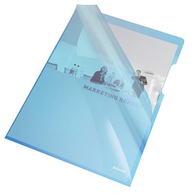 """Mapa """"L"""" pentru documente A4, 150 microni, 25/set, Esselte - albastru transparent"""