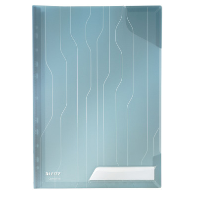 Mapa Leitz Combi File, cu eticheta, rigida, 3 buc/set - transparent albastru