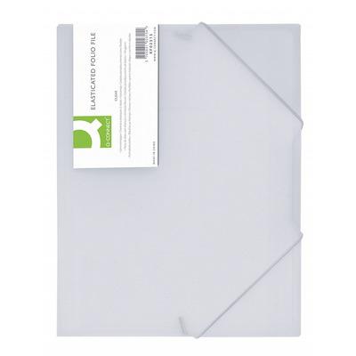 Mapa plastic cu elastic pe colturi, 400 microni, Q-Connect - alb transparent