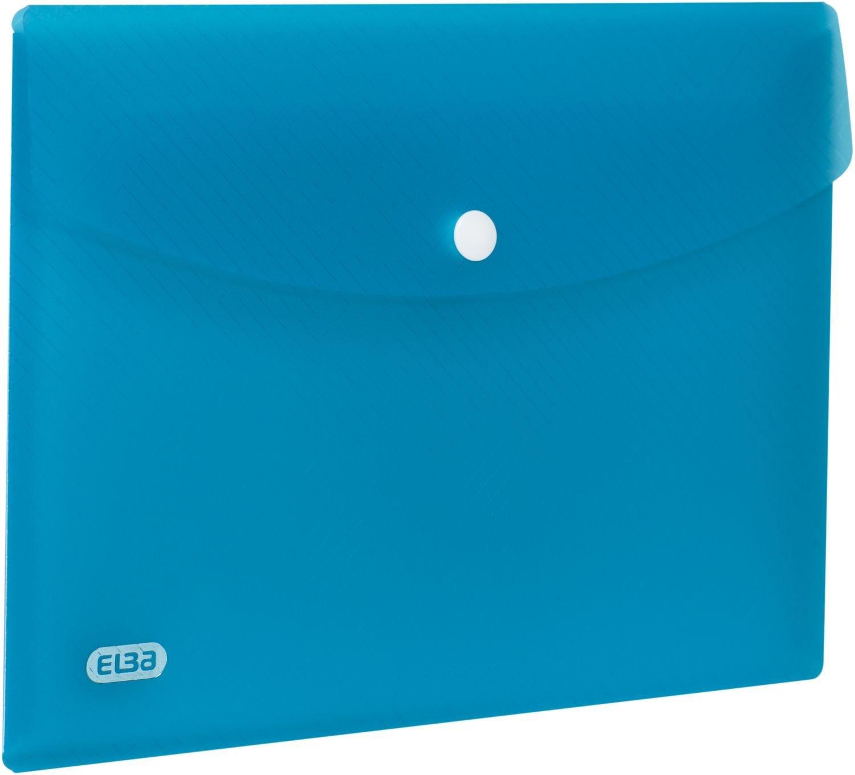 Mapa protectie documente A5 landscape, cu capsa, PP-0.3mm, 5 buc/set, ELBA Urban - albastru transpar