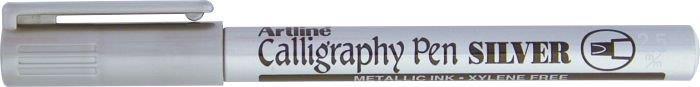 Marker Artline Calligraphy, corp metalic, varf tesit din fetru 2.5mm - argintiu