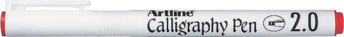 Marker Artline Calligraphy, varf tesit din fetru 2.0mm - rosu