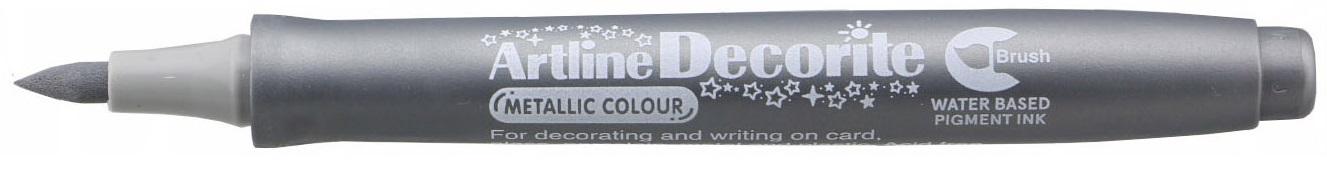 Marker Artline Decorite, varf flexibil (tip pensula) - argintiu