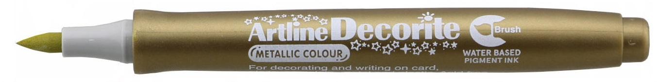 Marker Artline Decorite, varf flexibil (tip pensula) - auriu