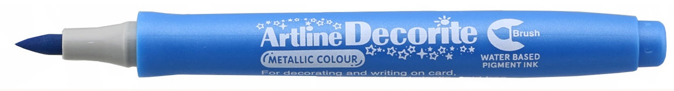 Marker Artline Decorite, varf flexibil (tip pensula) - bleu metalizat