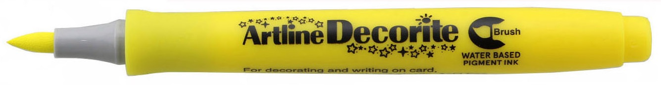 Marker Artline Decorite, varf flexibil (tip pensula) - galben