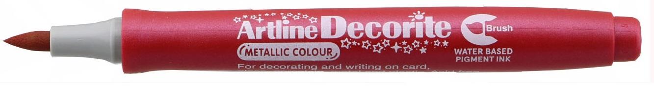 Marker Artline Decorite, varf flexibil (tip pensula) - rosu metalizat
