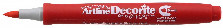 Marker Artline Decorite, varf flexibil (tip pensula) - rosu