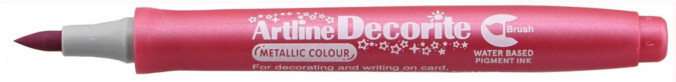 Marker Artline Decorite, varf flexibil (tip pensula) - roz metalizat