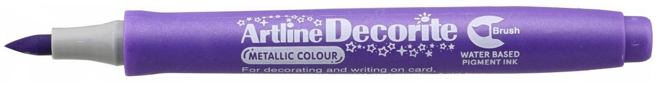 Marker Artline Decorite, varf flexibil (tip pensula) - violet metalizat