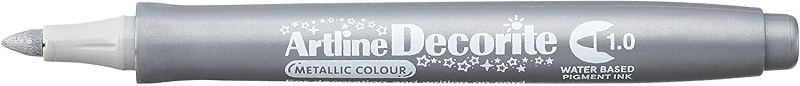 Marker ARTLINE Decorite, varf rotund 1.0mm - argintiu