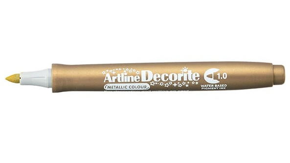 Marker ARTLINE Decorite, varf rotund 1.0mm - auriu