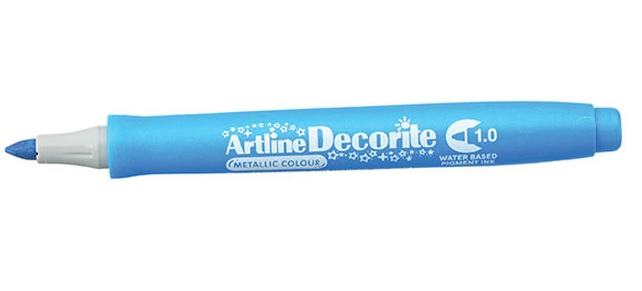 Marker Artline Decorite, varf rotund 1.0mm - bleu metalizat