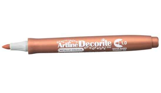 Marker Artline Decorite, varf rotund 1.0mm - bronz