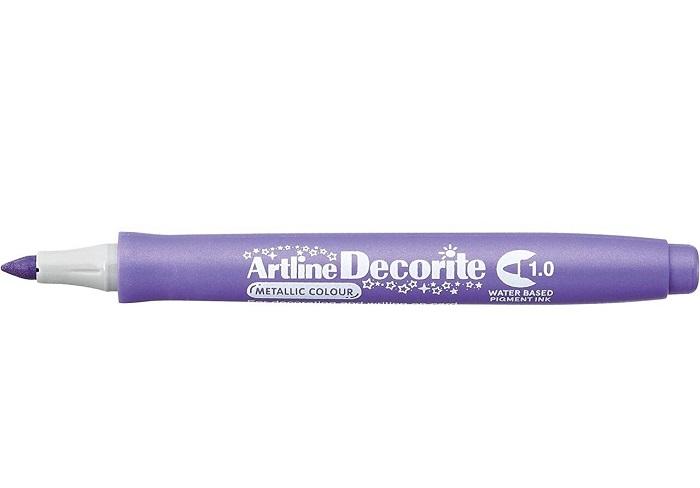 Marker Artline Decorite, varf rotund 1.0mm - violet metalizat