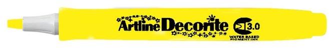 Marker Artline Decorite, varf tesit 3.0mm - galben