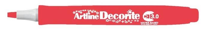 Marker Artline Decorite, varf tesit 3.0mm - rosu