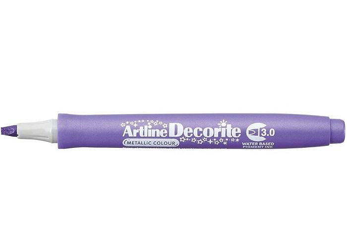 Marker Artline Decorite, varf tesit 3.0mm - violet metalizat