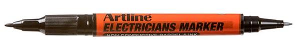 Marker Artline, pentru electricieni, corp plastic, 2 capete, varfuri rotunde 0.4/1.0mm - negru
