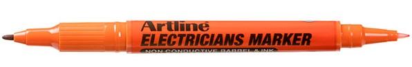 Marker Artline, pentru electricieni, corp plastic, 2 capete, varfuri rotunde 0.4/1.0mm - orange