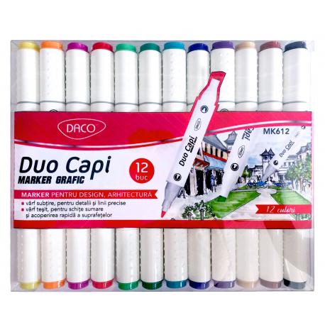 Marker grafic set 12 Duo Capi DACO MK612