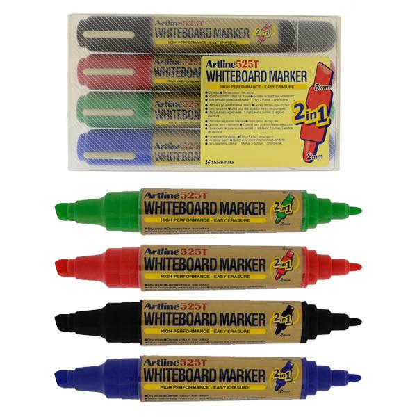 Marker pentru tabla de scris ARTLINE 525T, doua capete - varf rotund 2.0mm/tesit 5.0mm, 4 culori/set
