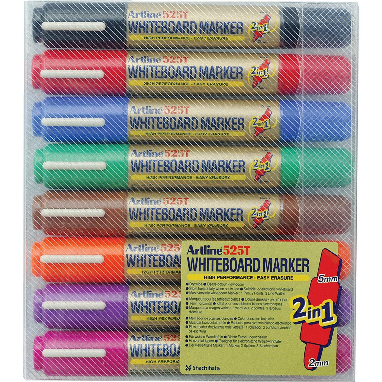 Marker pentru tabla de scris ARTLINE 525T, doua capete - varf rotund 2.0mm/tesit 5.0mm, 8 culori/set