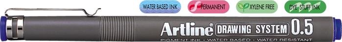 Marker pentru desen tehnic ARTLINE, varf fetru 0.5mm - albastru