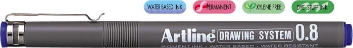 Marker pentru desen tehnic ARTLINE, varf fetru 0.8mm - albastru