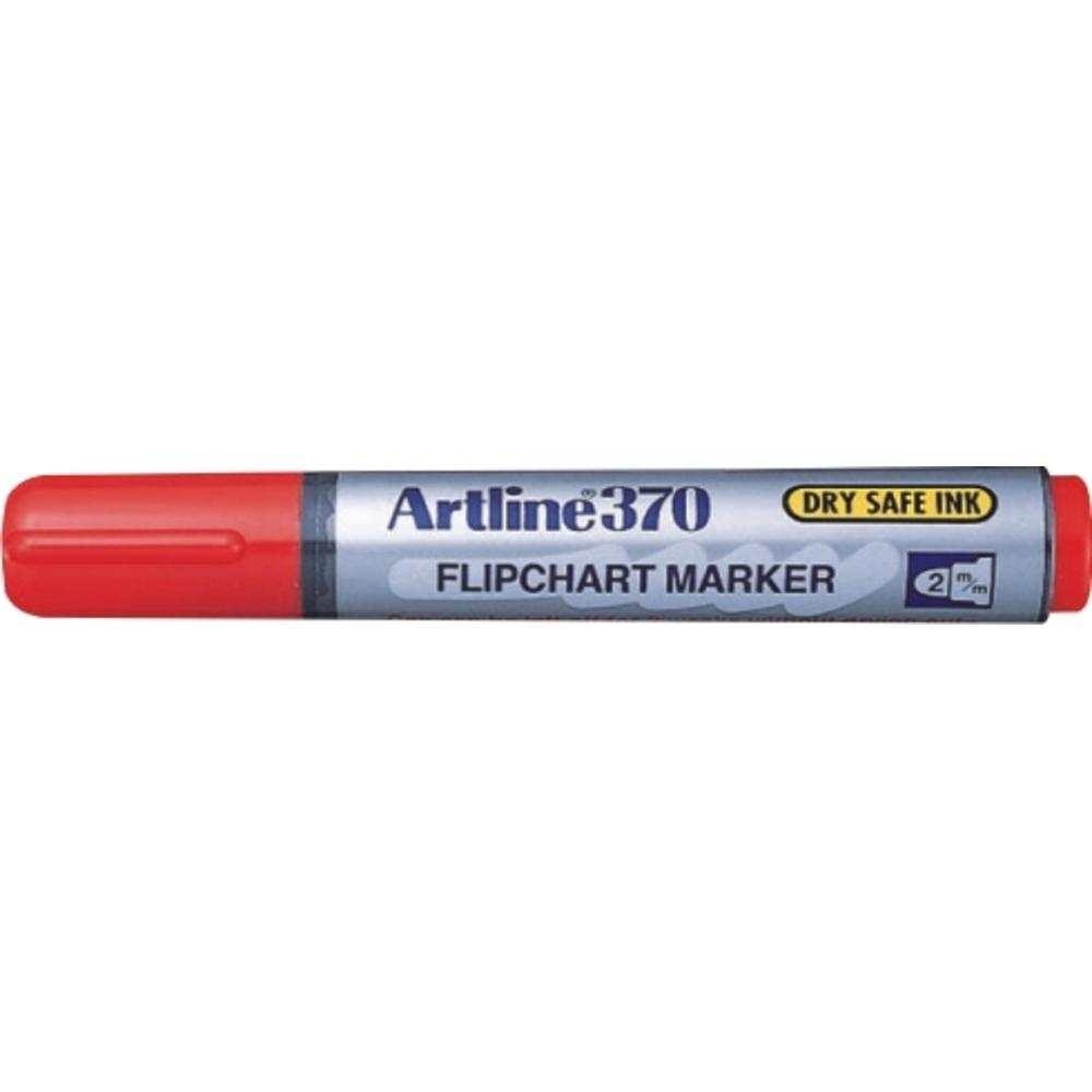 Flipchart marker Artline 370 - Dry safe ink, corp plastic, varf rotund 2.0mm - negru