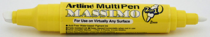 Marker universal ARTLINE Massimo, doua capete - varf rotund 2.0mm/tesit 5.0mm - alb