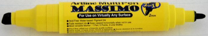 Marker universal ARTLINE Massimo, doua capete - varf rotund 2.0mm/tesit 5.0mm - negru