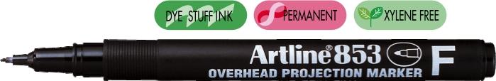 OHP Permanent marker ARTLINE 853, varf fin - 0.5mm - negru