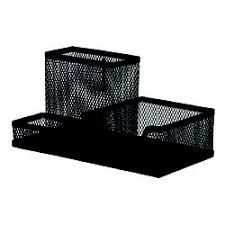 Organizer metalic Mesh, de birou, negru, 3 compartimente, Q-Connect
