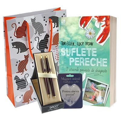Idee cadou. Cartea Suflete pereche, Set pix si stilou, magnet, punga pentru cadou