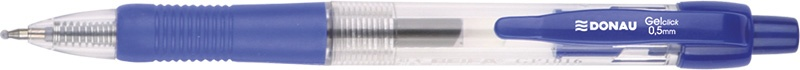 Pix cu gel, cu mecanism retractabil, rubber grip, 0.5 mm, cerneala rezistenta la apa, DONAU - albast