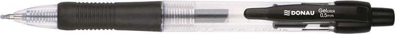 Pix cu gel, cu mecanism retractabil, rubber grip, 0.5 mm, cerneala rezistenta la apa, DONAU - negru