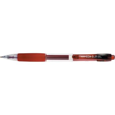 Pix cu gel Penac CCH-3, rubber grip, 0.5mm, corp transparent - scriere rosie