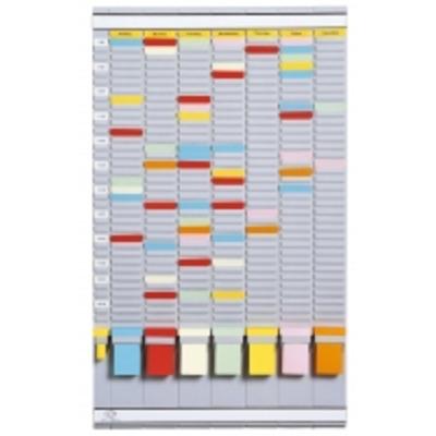 Planner saptamanal cu T-cards, gri deschis, cu 35 de slot-uri, complet, Jalema