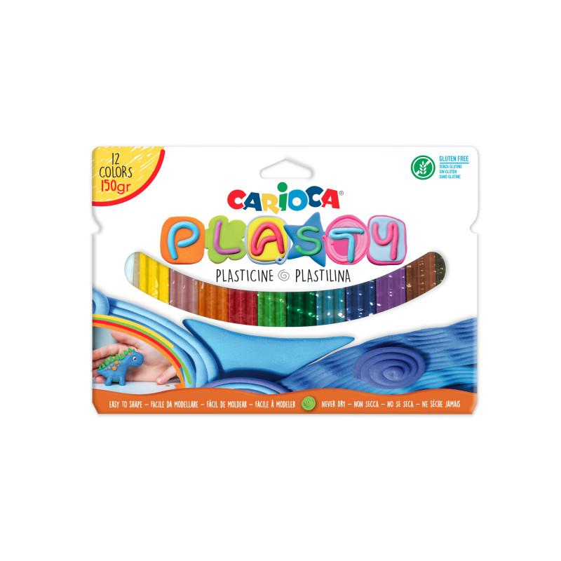 Plastelina usor de modelat, fara gluten, 12 culori la cutie - CARIOCA Plasty