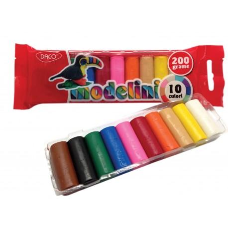 Plastilina 10 culori 200g Modelini Daco
