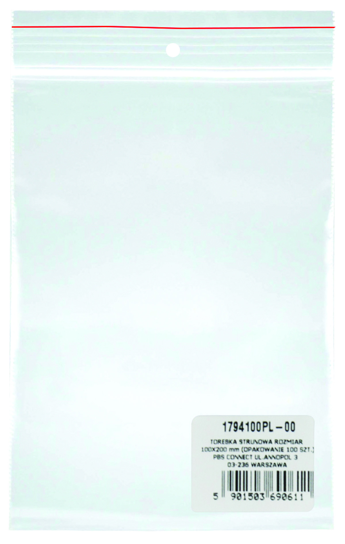 Pungi plastic cu fermoar pentru sigilare, 100 x 200 mm, 40 microni, 100 buc/set, Donau -transparente