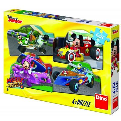 Puzzle 4 in 1 - Mickey Mouse si Minnie la cursa (54 piese)