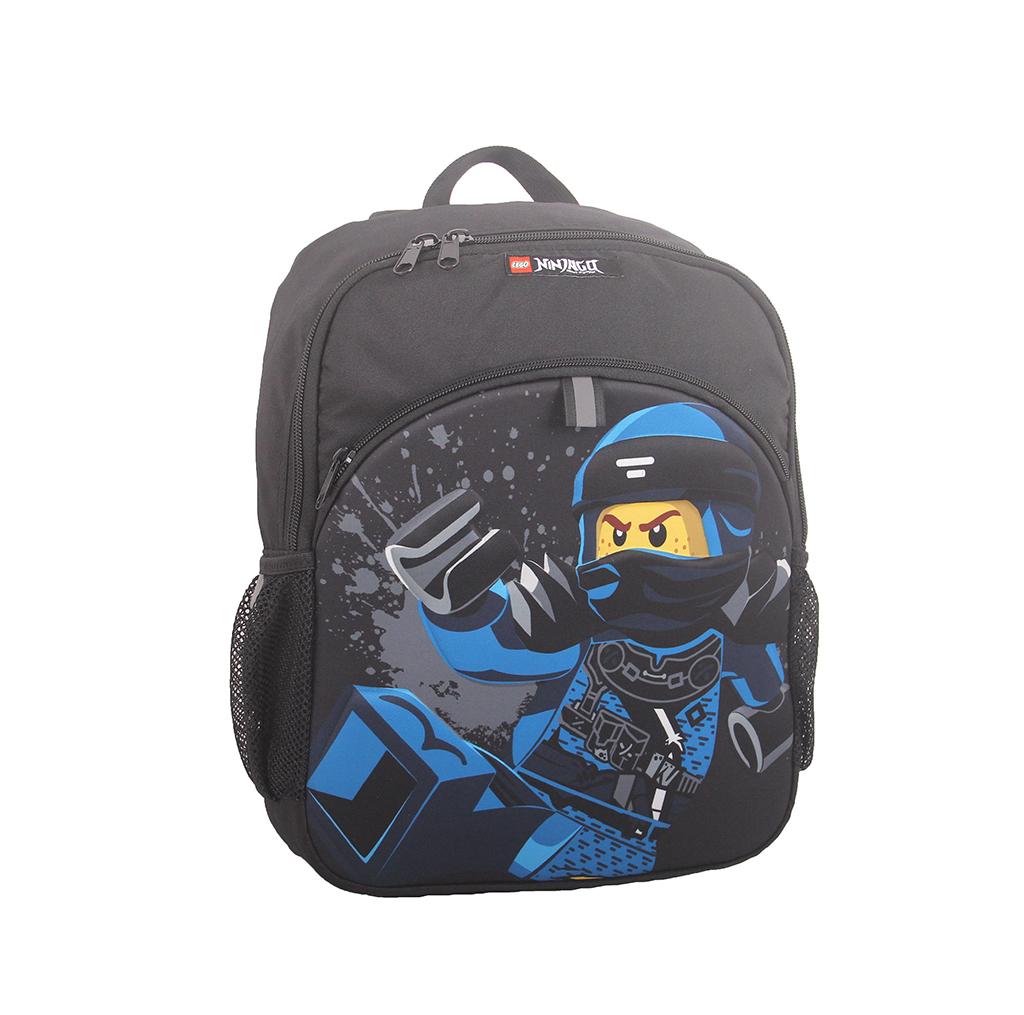 Rucsac negru Lego M-Line, cu buzunar frontal - design albastru NinjaGo Jay