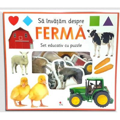 Sa invatam despre ferma. Set educativ cu puzzle