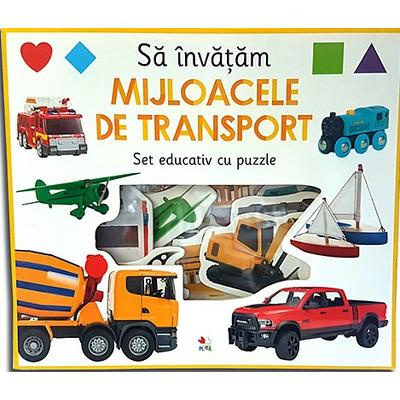 Sa invatam mijloacele de transport. Set educativ cu puzzle
