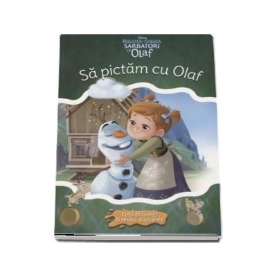 Sa pictam cu Olaf. Carte de colorat cu pensula si acuarele