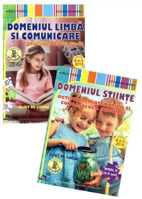 Set 2 caiete. Domeniu stiinte, activitate matematica si cunoasterea mediului. Domeniu limba si comunicare, educarea limbajului. Nivel II, 5-6 ani. Editia 2019